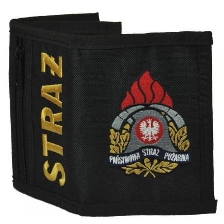 Portfel materiałowy z haftem strażackim