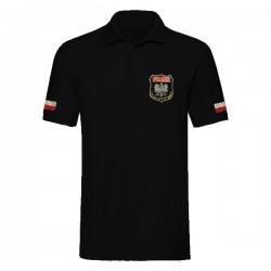 Koszulka polo z haftem Fire Brigade Poland czarna